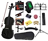 YMC Full Size 4/4 Violin Starter Kit with Hard Case,Bow,Rosin,Extra Strings,Shoulder Rest,Mute,Electronic Tuner,Pinkinest,Polish cloth,Violin Hanger,Music Stand - Black