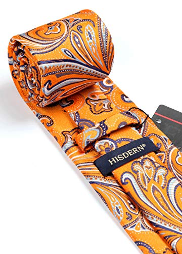 HISDERN Paisley Tie for Men Handkerchief Woven Classic Floral Men's Necktie & Pocket Square Set