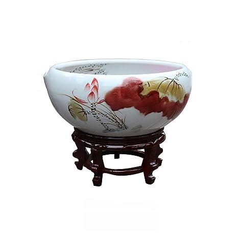 Suna Pote De Cerámica Flor De Loto Maceta Sala De Estar Feng Shui Tanque De Peces