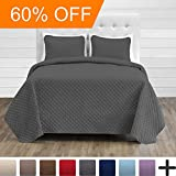 Premium Diamond Stitched 3 Piece Coverlet Set - Ultra-Soft Luxurious Lightweight All Season Bedspread (Full/Queen, Grey)