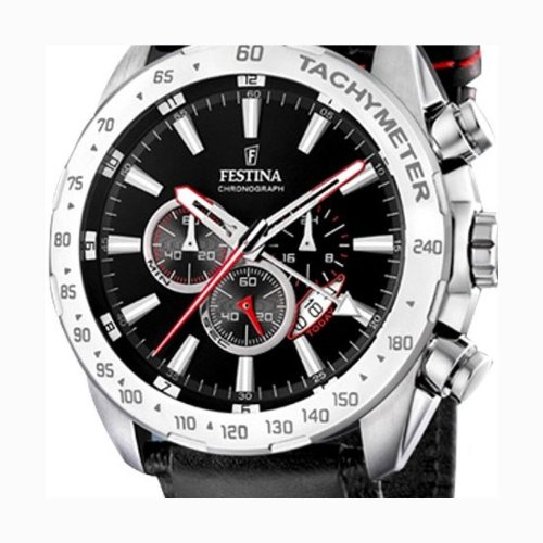 Festina Men's Chrono Watch F16489/5 With Black Leather Strap