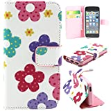 iPhone 5C Case, Asstar [Stand Feature] NEW Pattern Premium PU Leather Wallet [Card/Cash Slots] Protective Flip Fold Wallet Pouch Case for iPhone 5C (Petal)