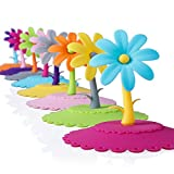 ME.FAM Unique Flower,set of 8 Pack,anti-dust Airtight Seal Silicone Cup Mug Cover,diy Covers,food-grade Silicone Drink Covers,spillproof,leakproof,keeps Beverages Hot or Cold, Silicone Cup Lid