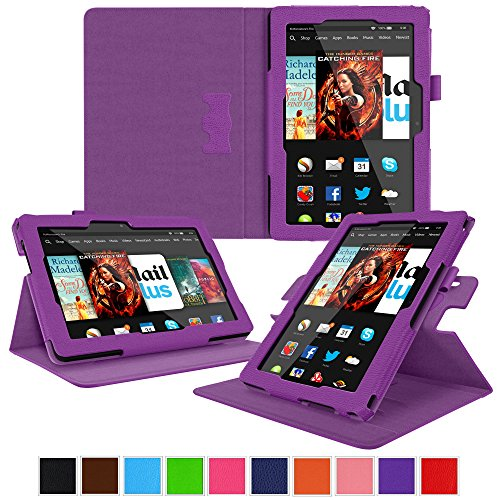 rooCASE Kindle Fire HDX 8.9 Tablet (2014) Case, new Kindle Fire HDX 8.9 Dual View Folio Case Cover with Multi-Viewing Stand for All-New 2014 Fire HDX 8.9 Tablet (4th Generation), Purple (Kindle Hdx 7 4th Generation)