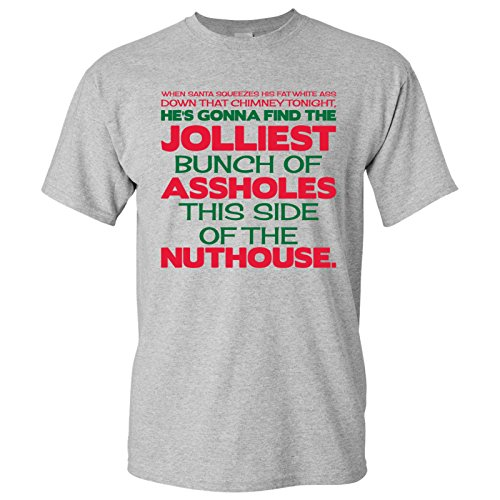 UGP Campus Apparel Jolliest Bunch of A-Holes - Funny Movie Winter Adult Basic Cotton T-Shirt - Large - Sport Grey