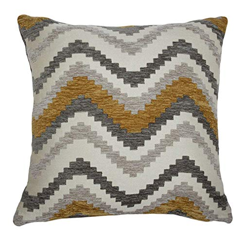 McAlister Textiles Navajo Pillow Case | Yellow & Grey Geometric Zig Zag Chevron Tribal Abstract Elegant Made Throw Couch Cushion for Bedroom Sofa Living Room | Dimensions - 24 x 24 Inches