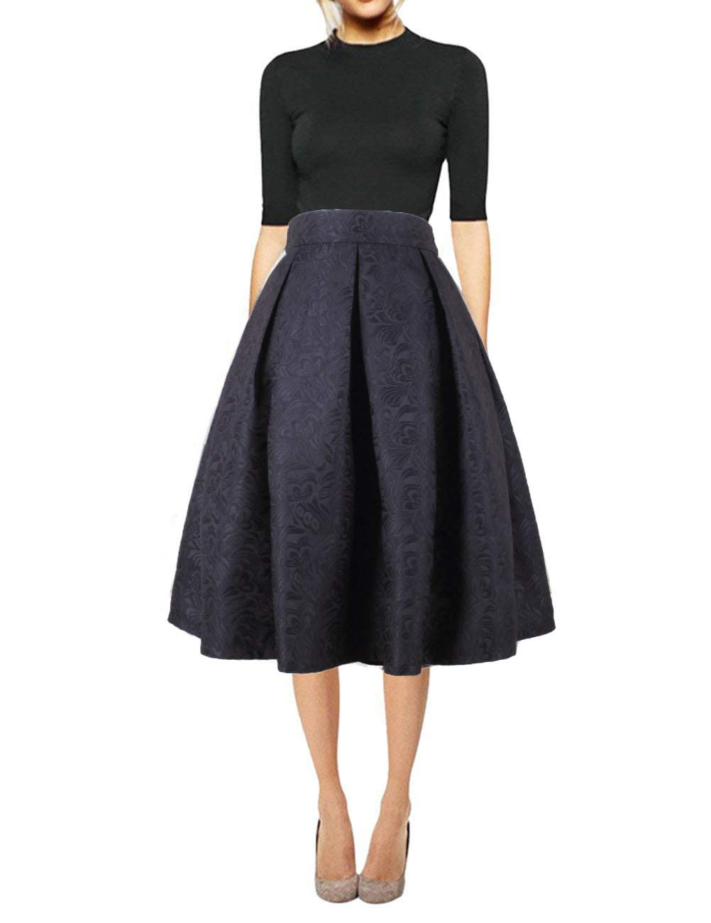 7419ba7a46 Galleon - Hanlolo Women Knee Length Floral Skirt Pleated Flared Midi Circl Skirts  Dress