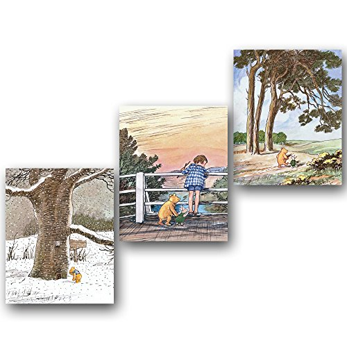 (Set of 3) Classic Winnie the Pooh Wall Art (Baby Room Prints, Nursery Decor)