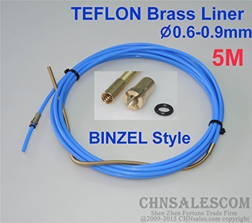 CHNsalescom BINZEL Style PTFE with Brass Liner and Cooper Terminal 0.6-0.9mm Wire 5M 16ft