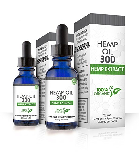 Absolute Nutrition Hemp Oil 300, Dropper (2 Pack) 600 Milligrams Helps Anxiety, Chronic Pain, Sleep, Mood,Skin and Hair