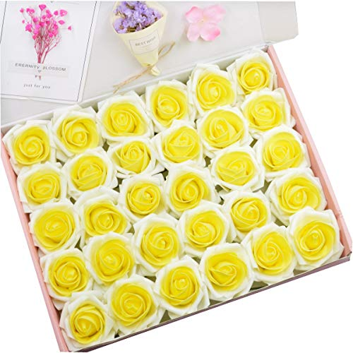 Anndason 50 PCS Artificial Roses Flowers Artificial Foam Roses Fake Roses for Home Decorations Wedding Bouquets Party (Cream White + Yellow) (Rose Bouquet Yellow)