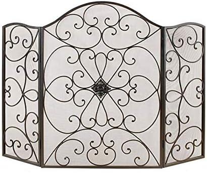 暖炉スクリーン 3パネル暖炉スクリーン、黒の錬鉄製金属装飾メッシュ、スタンディングゲートベビーセーフファイヤープルーフフェンス、スパークガードカバー、35 H×50 W
