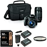 Canon EOS Rebel SL1 Digital SLR Kit (Black) with 18-55mm and 75-300mm Lenses, Lexar 16GB Memory Card, Extra Battery, Bag and Lens Filter