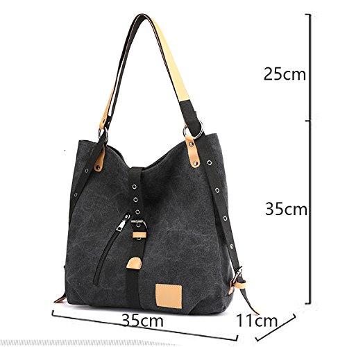 Black Daypacks Canvas Defeng Bags Handbag Totes Shoulder Bag Rucksack Hobos Backpacks vxBpz