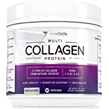 Multi Collagen Peptides Powder: 40 SRV Hydrolyzed Collagen Protein from Natural Grass-Fed Beef, Wild Marine Fish, Chicken and Eggshells, Type I II III V X Collagen Supplement, Gluten and Dairy Free