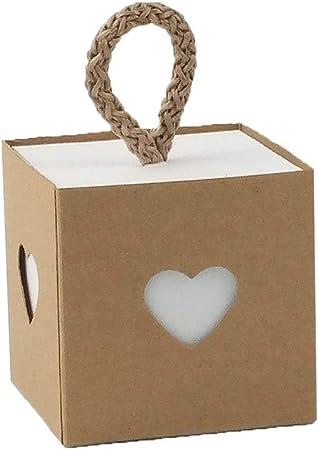 Gudotra 100pz Scatole Carta Kraft Cuore Love+100 Corde Scatoline Portaconfetti per Confetti Bomboniere Segnaposto Matrimonio Battesimo