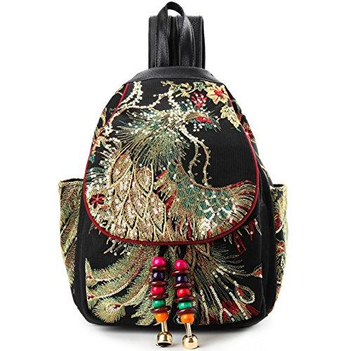 Vintage Phoenix Sequins Embroideried Women Backpack Daypack Travel Shoulder (Colorful Backpacks)
