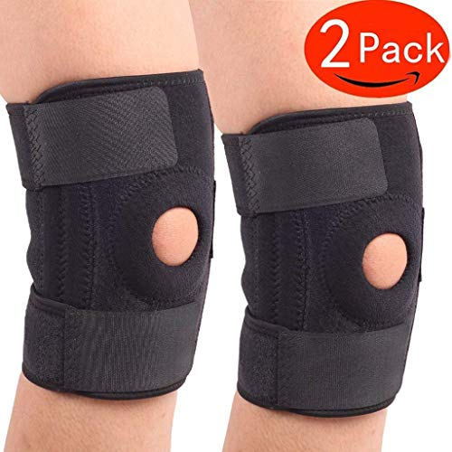 YZGL Knee Brace,Knee Brace Support,Sleeve Protector for Arthritis,(Pack of 2), ACL, Running, Basketball, Meniscus Tear, Sports, Athletic. Open Patella Protector Wrap