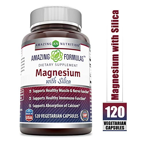 (Amazing Formulas - Magnesium with Silica Dietary Supplement - 300 Milligrams - 120 Vegetarian Capsules (Non-GMO) - Aids in Calcium Absorption- Supports Healthy Nerve and Muscle Function*)