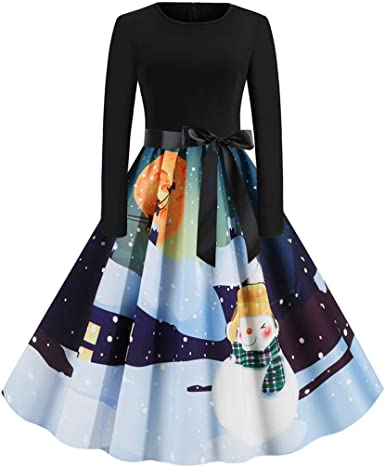 Women Vintage Christmas Printed Long Sleeve Evening Prom Costume Swing Dresses