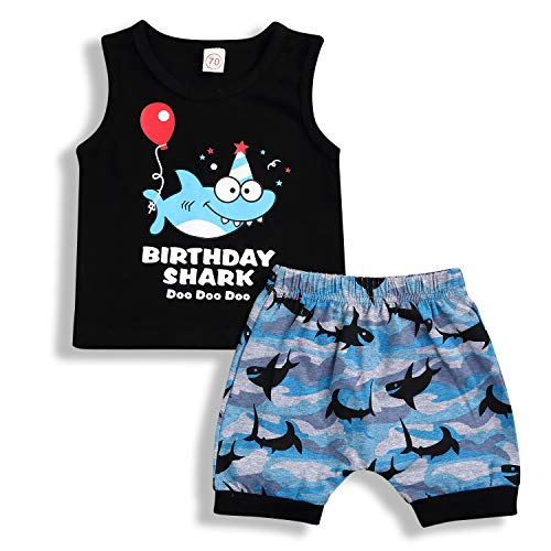 Baby Boy Girl Birthday Shark Doo Doo Doo Outfits Infant Boy Sleeveless Tops and Short Pants (Black, 18-24 Months]()