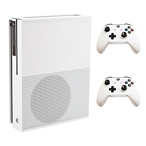 HIDEit Mounts X1S + 2 Controller Mounts (White) - Xbox One S Wall Mount Bundle (Xbox 360 Game Shelf)