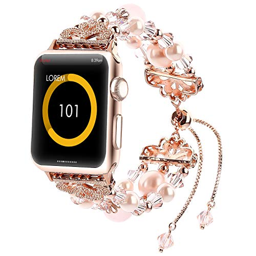 - Fohuas for Apple Watch Band 38mm, Adjustable Crystal Beads Pearls iWatch Bracelet Fashion Womens Girls Jewelry Wristband Strap for Apple Watch Series 3 2 1 Nike+, Sport, Edition, Pink