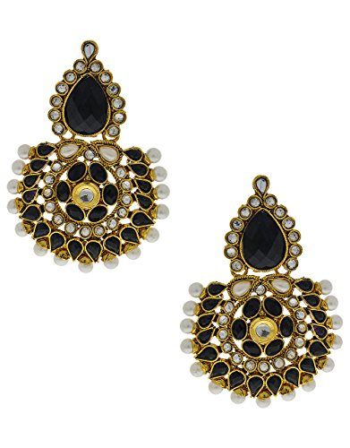 Anuradha Art Black Colored Traditional Design Earrings For Women