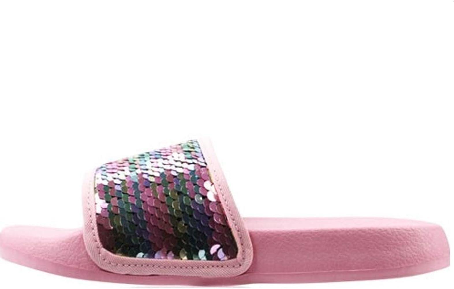Girls Fur/Glitter Slider Flip Flops