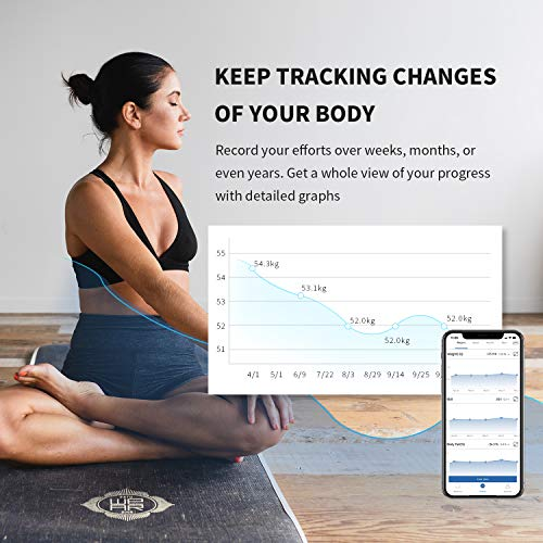 Body Fat Scale, Nakewan Smart BMI Scale Digital Bathroom Health Weight Monitor, Wireless Weight Scale, Body Composition Analyzer with High Accuracy Smartphone App 400 lbs - Black