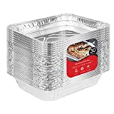 9x13 Disposable Aluminum Foil Baking Pans (30 Pack) - Half Size Steam Table Deep Pans - Aluminum Trays Great for Baking, Cooking, Heating, Storing, Prepping Food