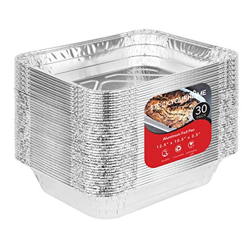 9x13 Disposable Aluminum Foil Baking Pans (30 Pack) - Half Size Steam Table Deep Pans - Aluminum Trays Great for Baking, Cooking, Heating, Storing, Prepping - Steam Table Aluminum Pan
