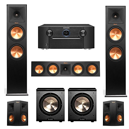 Find a Klipsch RP-280F, RP-450C, RP-250s, 2 PL-200 Subwoofers, 5.2 Home Theater System with Marantz SR7010 9.2 Channel Full 4K Ultra HD AV Surround Receiver with Bluetooth & Wi-Fi