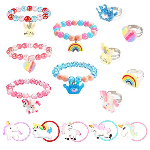 LOVESTOWN 15 Pcs Toddler Bracelets Rings Set, Pretend Play Bracelet Little Girl Animal Bracelets Girl Toy Bracelets for Birthday Gift Dress Up Game Props