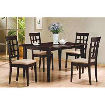 5pc Casual Dining Table U0026 Chairs Set Contemporary Style Cappuccino Finish