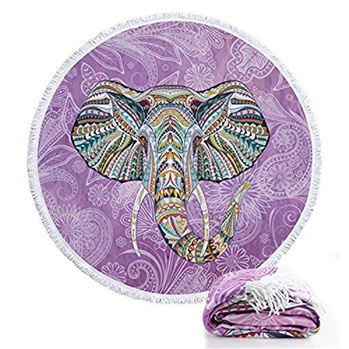 Zeronal Round Roundie Elephant Style Mandala Beach Towels Boho Style Blankets Microfiber Yoga Picnic Mat Ultra Soft Tapestry Tablecloth with Fringe Tassels Purple Pool Towel (Elephant Beach)