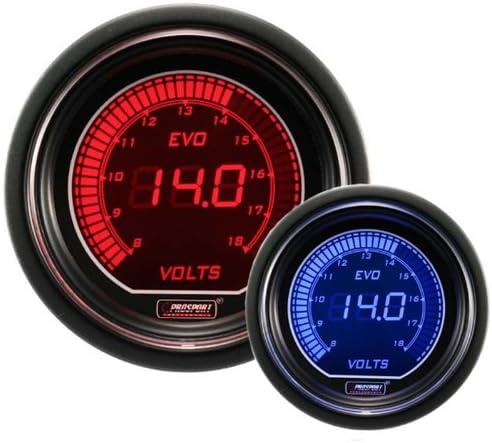 Electrical Red//blue EVO Series 52mm 2 1//16 Volt Gauge