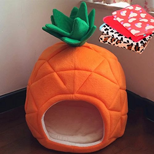 Super Value Pineapple Shape Washable Pet House With Blanket,Suitable For Dog Cat And Other Small Animals