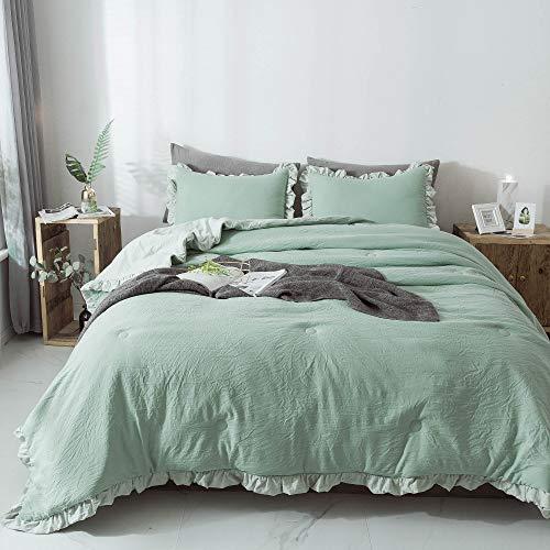 KASENTEX Quilted Comforter Set with Stylish Ruffled Edge Trim Nostalgic Design Microfiber Soft Warm Bedding with Sham (Green, Twin + 1 Standard Sham)