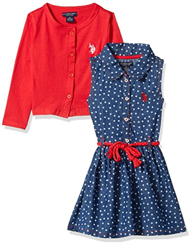 U.S. Polo Assn. Toddler Girls' Dress With Sweater Or Jacket, Cropped Cardigan Braid Belt Engine Red, 3T