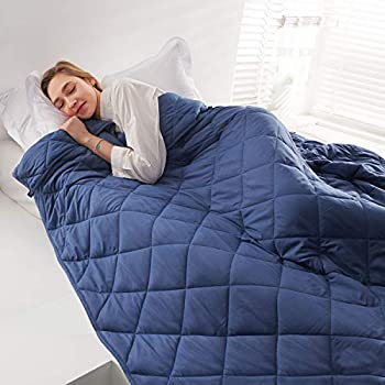 Image of CHIAVE Weighted Blanket for Adults and Teens 10 Lbs 48'x72' Full Size with Removable Cotton Cover I for 80 to 125 Lbs Individual - Blue CHIAVE B0839GKTCH Weighted Blankets