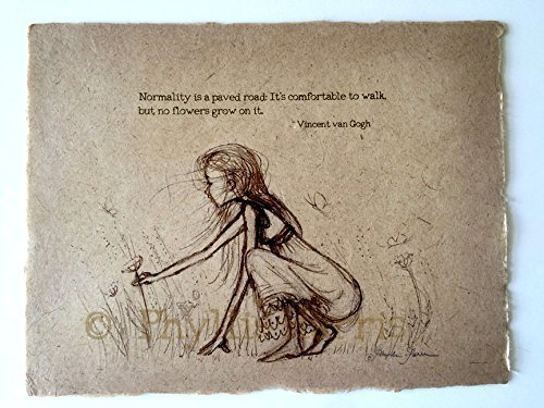 Vintage Sketch of Girl Picking Wildflowers – Vintage Style Sketch on Handmade Paper