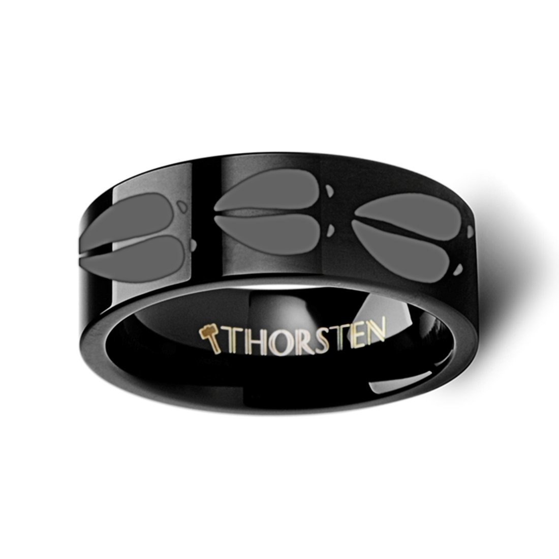 Thorsten Nature Animal Wildlife Deer Track Print Pattern Ring Flat Black Tungsten Ring 4mm Wide Wedding Band from Roy Rose Jewelry