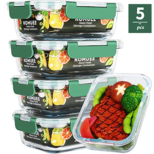 Glass Meal Prep Containers, Food Prep Containers with Lids Meal Prep - Food Storage Containers Airtight - Lunch Containers Portion Control Containers - BPA Free Container [5-Pack,22oz]