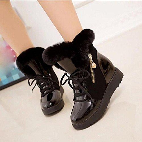 Inkach Femmes Hiver Bottes De Neige Chaussures Fausse Fourrure Doublure Bout Rond Bottines Plates Lacets Chaussures Noires