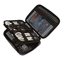 BAGSMART Compact Double-layer Travel Cable Organizer Universal Electronics Accessories Cases for iPad mini, Kindle, Hard Drives, Cables, Chargers