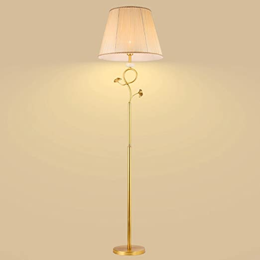 Lámpara de pie de cobre puro europeo, accesorios de mármol natural ...