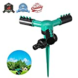 Lihynmy Lawn Sprinkler, Automatic 360 Rotating Watering Sprinkler Lawn Irrigation System, Durable 3 Arm Garden Water Sprinkler Covering Outdoor Large Area, Spike Base
