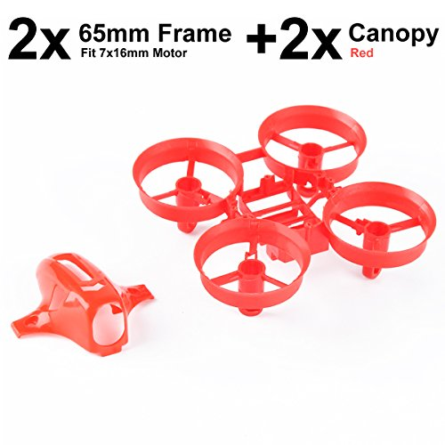 Price comparison product image 2pcs 65mm Tiny Whoop Frame and 2pcs Drone Canopy for Mini Drone Micro Quadcopter Compatitble with 716mm Motor(Red)