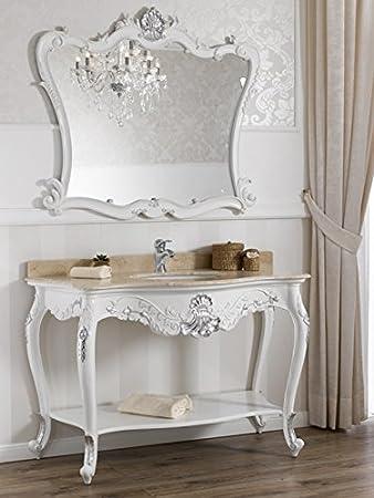 Consolle lavabo e specchio stile Barocco Moderno bianco laccato ...